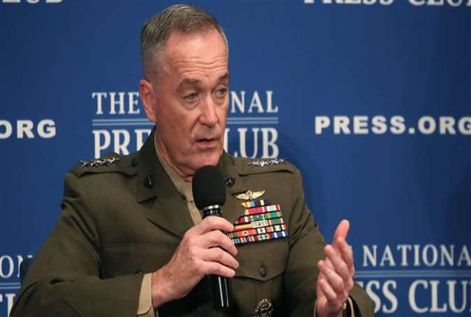 Chairman of the Joint Chiefs of Staff Gen. Joseph Dunford speaks at the National Press Club on June 19, 2017. (Photo by AFP)
