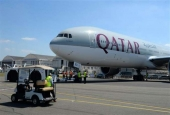 A Qatar Airways Boeing 777-300 being moved on the Tarmac of Le Bourget airport near Paris (AFP file photo)