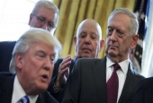 US Defense Secretary James Mattis (right) looks at President Donald Trump as he speaks during a meeting in the Oval Office of the White House in Washington, DC. (Reuters file photo)