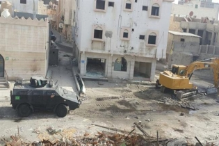 Armored vehicles and equipment used in an attack by Saudi forces on the al-Masoura neighborhood of al-Awamiyah in Saudi Arabia's Eastern Province on May 10, 2017.