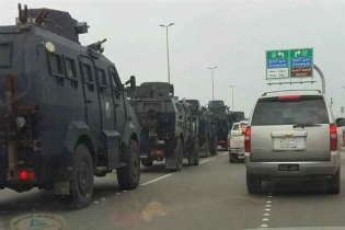 The photo shows Saudi armored vehicles heading to Qatif region, Eastern Province, on January 2, 2016.