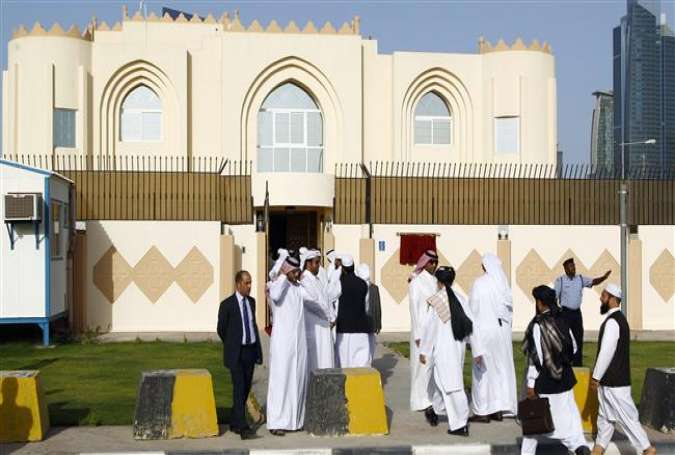 A view of the former office of the Taliban militant group in the Qatari capital, Doha. (File photo)