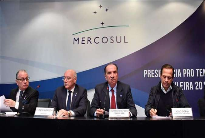 This file photo shows foreign ministers from the member state of the South American trade bloc Mercosur speaking at a press conference in Sao Paulo, Brazil, on August 5, 2017. (By AFP)