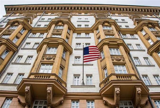 The US embassy building in Moscow (Photo by AP)