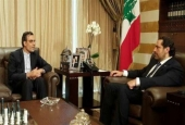 Lebanese Prime Minister Saad Hariri (R) meets with Iranian Deputy Foreign Minister for Arab and African Affairs Hossein Jaberi Ansari in Beirut on August 22, 2017.
