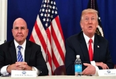 US President Donald Trump (right), along with National Security Advisor H. R. McMaster, speaks during a security briefing on August 10, 2017, at his Bedminster National Golf Club in New Jersey. (Photo by AFP)