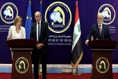Iraqi Foreign Minister Ibrahim al-Jaafari, French Foreign Minister Jean-Yves Le Drian and French Defense Minister Florence Parly (from R) hold a joint press conference in Baghdad, Iraq, August 26, 2017. (Photo by AP)