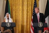 US President Donald Trump (R) looks on as Kuwaiti Emir Sheikh Sabah al-Ahmad Al Sabah speaks during a joint press conference at the White House in Washington, DC, on September 7, 2017. (Photo by AFP)