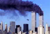 This file photo taken on September 11, 2001 shows a hijacked plane approaching the World Trade Center shortly before crashing into the landmark skyscraper in New York.