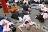 Protesters from the Campaign Against Arms Trade, a UK-based organization, lie on the ground as they demonstrate against the Defense & Security Equipment International (DSEI) arms fair in London on September 12, 2013. (Photo by AP)