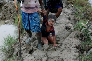 A Rohingya refugees boy falls as he walks on a muddy path after crossing the Bangladesh-Myanmar border, in Teknaf, Bangladesh.