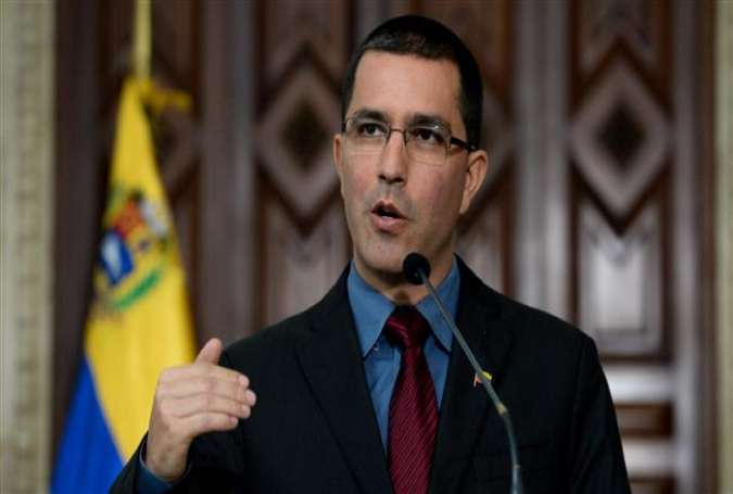 Venezuelan Foreign Minister Jorge Arreaza speaks at a press conference in Caracas on September 4, 2017. (Photo by AFP)