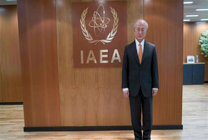 This file photo taken on March 24, 2016 shows International Atomic Energy Agency (IAEA) chief Yukiya Amano posing for a photographer at the IAEA