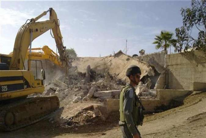 Israeli forces demolish a Palestinian house in the occupied West Bank. (File photo)