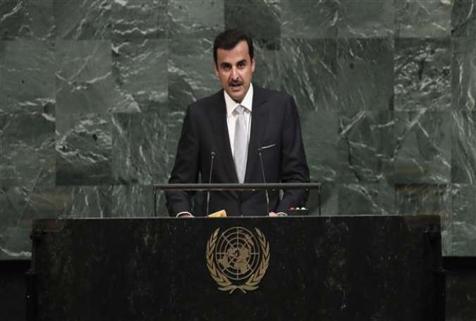 Qatari Emir Sheikh Tamim bin Hamad Al Thani addresses the United Nations General Assembly at UN headquarters in New York on September 19, 2017. (Photo by AFP)