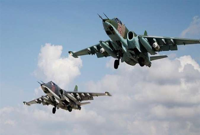 Russian Su-25 attack aircraft take off from the Khmeimim airbase in Syria. (file photo)