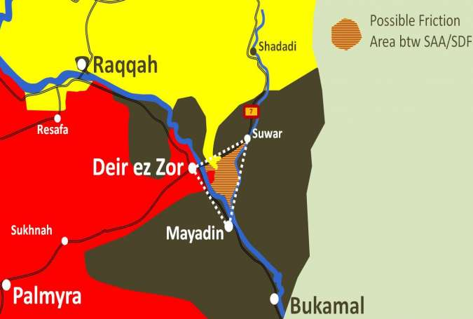 U.S. proxy forces in east-Syria (yellow)  fight of Syrian forces (red)  Islamic State (black).