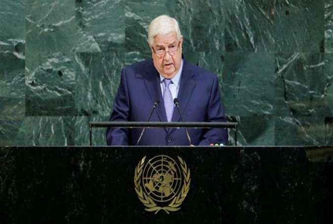 Syrian Foreign Minister Walid al-Muallem addresses the UN General Assembly in New York on September 23, 2017. (Photo by Reuters)