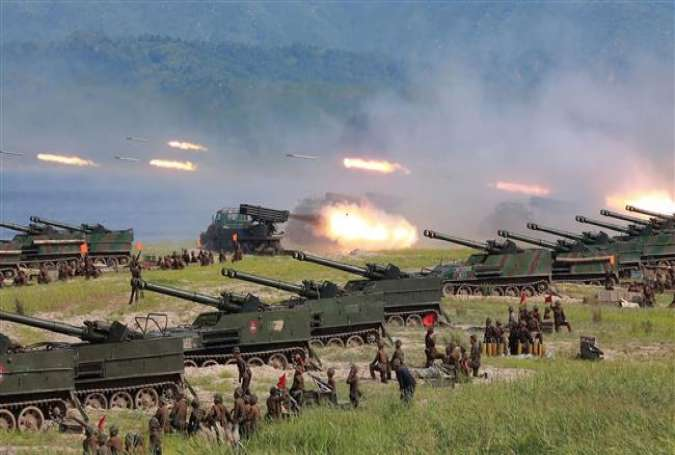 Korean People's Army personnel during a target strike exercise..jpg