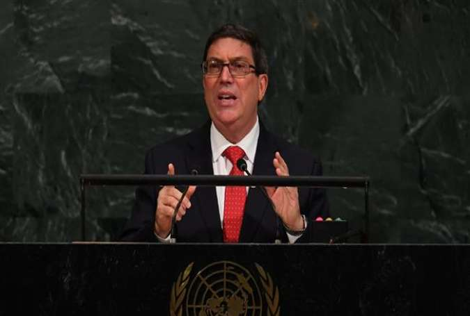 Cuba Foreign Minister Bruno Rodriguez speaks during the 72nd session of the General Assembly at the United Nations in New York on September 22, 2017. (Photo by AFP)