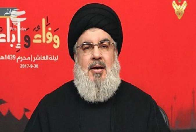 Secretary General of Hezbollah Sayyed Hassan Nasrallah delivers a televised speech from the Lebanese capital city of Beirut on September 30, 2017.