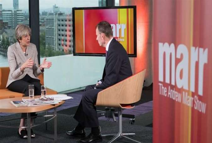 British Prime Minister Theresa May being interviewed by Andrew Marr during The Andrew Marr Show on October 1, 2017. (Photo via The Guardian)