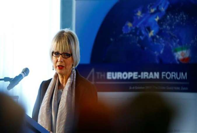Helga Schmid, the secretary general of the European External Action Service (EEAS), addresses the 4th Europe-Iran Forum in Zurich, Switzerland, October 4, 2017. (Photo by Reuters)