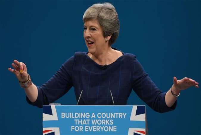 UK Prime Minister Theresa May addressing the Conservative Party