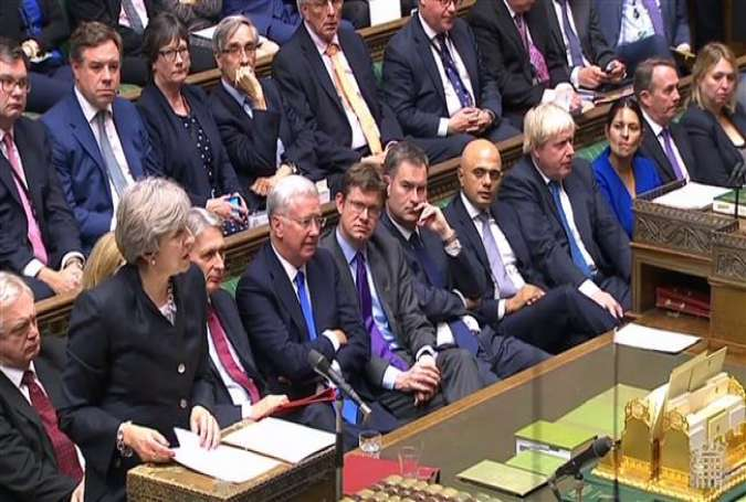 A video grab from footage broadcast by the UK Parliament on Monday, October 9, 2017.