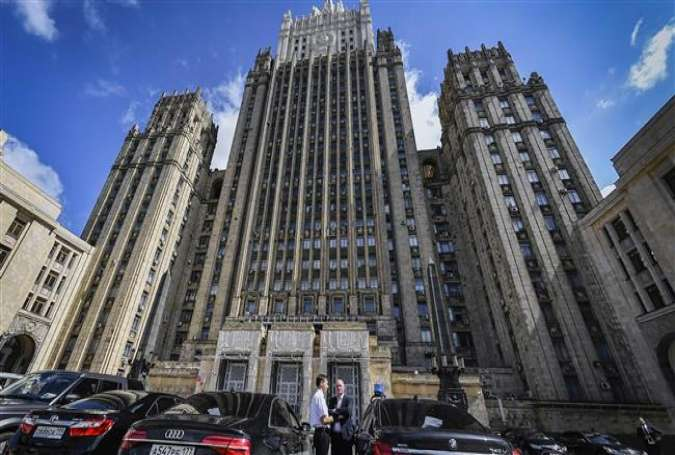 An image taken on July 31, 2017 shows the main building of the Russian Foreign Ministry in Moscow. (By AFP)