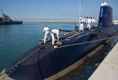 A file photo of the Israeli military's German-made Dolphin-Class submarine