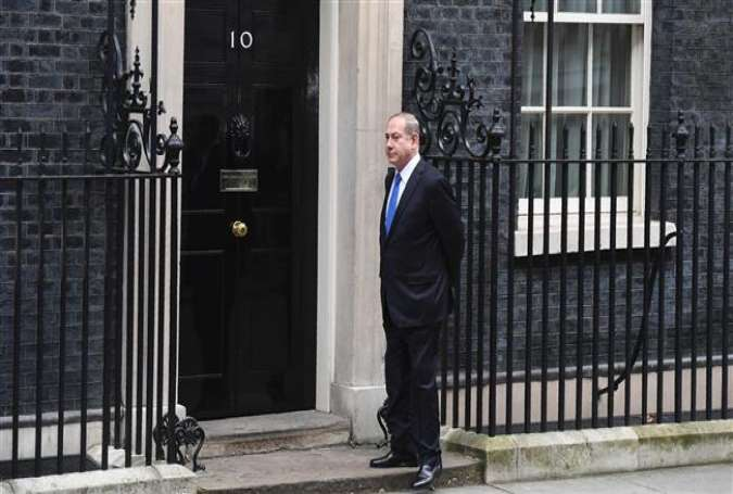 Benjamin Netanyahu, Israeli Prime Minister stands alone at the door of 10 Downing Street.jpg