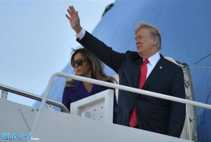US President Donald Trump and First Lady Melania Trump board Air Force One departing from Andrews Air Force Base, Maryland, on November 3, 2017, embarking on a 11-day tour of Asia. (Photo by AFP)