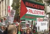 Demonstrators in London protest against the Balfour Declaration and Prime Minister Benjamin Netanyahu