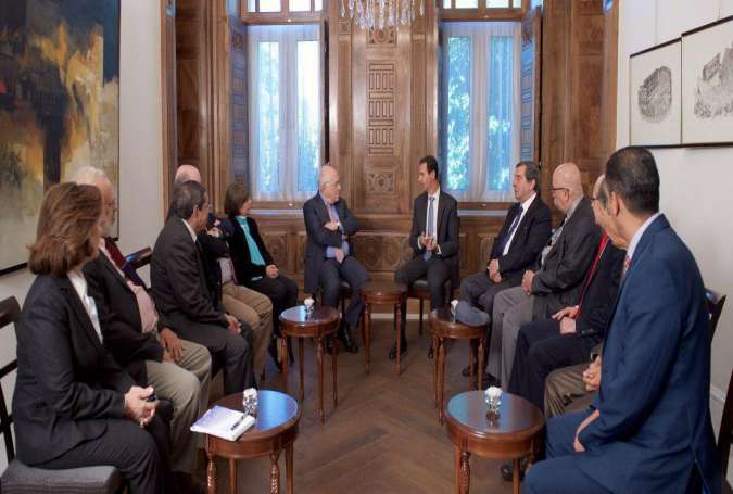 Meeting in Damascus where Syrian President, Bashar Al-Assad received a number of Arab writers and intellectual figures.jpg