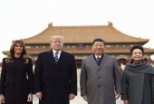 Donald Trump, Xi Jinping, and their wives Melania Trump and Peng Liyuan in Beijing, China.jpg