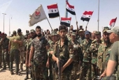Syrian troops celebrating victory against terrorists