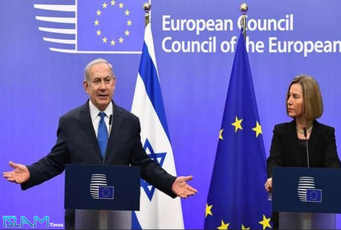 Israeli Regime's PM Benjamin Netanyahu and EU foreign policy chief Federica Mogherini speak during a joint press conference at the European Council in Brussels