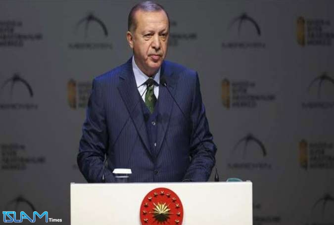 Turkey's President Recep Tayyip Erdogan speaks at the 7th Hadith and Sira Studies Awards Ceremony in Istanbul, Turkey
