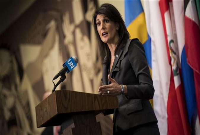 US ambassador to the United Nations Nikki Haley speaks during a brief press availability at United Nations headquarters, January 2, 2018 in New York City. (Photos by AFP)
