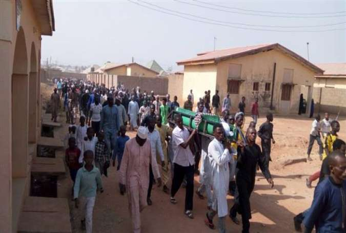 A photo published on January 8, 2018, shows a funeral procession held for a student who was killed by Nigerian government forces during protests calling for the release of prominent cleric Sheikh Ibrahim Zakzaky.