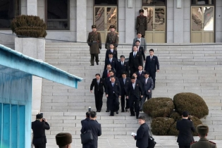 North Korean delegation led by Ri Son Gwon, Chairman of the Committee for the Peaceful Reunification of the Country (CPRC) of DPRK, leave for the south side to attend their meeting at the truce village of Panmunjom in the demilitarized zone separating th