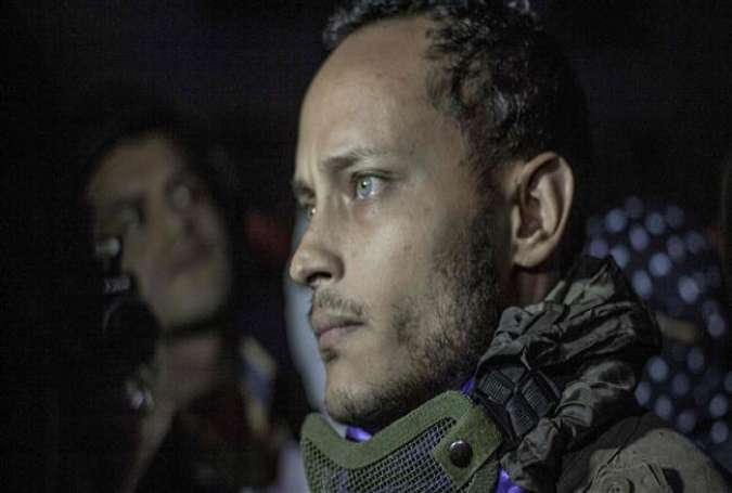 This file photo, taken on July 13, 2017, shows former Venezuelan police officer Oscar Perez participating in an anti-government protest in Caracas on July 13, 2017. (By AFP)