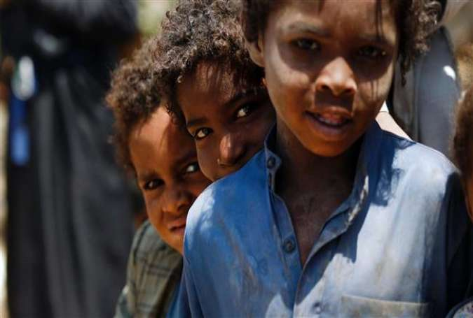 Yemeni children  at a camp for Internally Displaced Persons (IDPs) near Sana