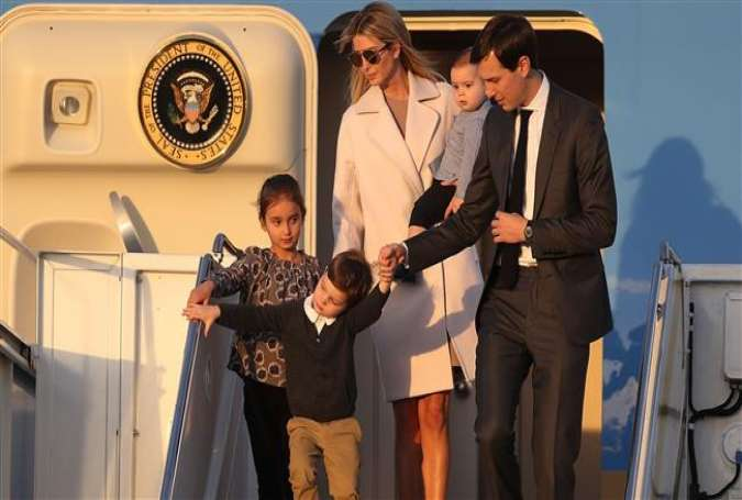 Jared Kushner and his wife Ivanka Trump walk off Air Force One with their children at Palm Beach International airport as they prepare to spend part of the weekend together with her father President Donald Trump at Mar-a-Lago resort on February 10, 2017 in West Palm Beach, Florida. (Photo by AFP)