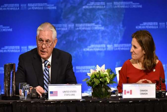 US Secretary of State Rex Tillerson delivers his opening remarks as Canadian Foreign Minister Chrystia Freeland listens, at the Vancouver Foreign Ministers Meeting on Security and Stability on the Korean Peninsula, in Vancouver, British Columbia, Canada, on January 16, 2018. (Photo by AFP)