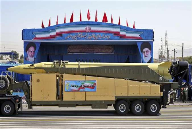 An Emad long-range ballistic surface-to-surface missile displayed by Iran's military during a parade.
