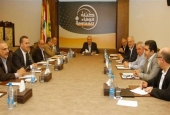 Loyalty to the Resistance parliamentary bloc members attend a meeting in Beirut in a photo released by the Hezbollah media office.