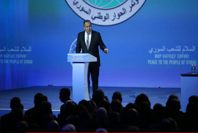Russian Foreign Minister Sergei Lavrov delivers a speech during the Syrian National Dialogue Congress in Sochi