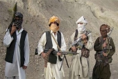 This file photo shows members of the Taliban militant group in an undisclosed location in Afghanistan